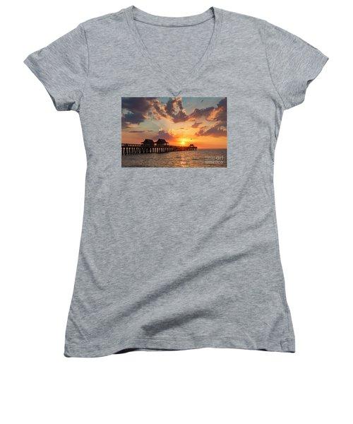 Women's V-Neck T-Shirt (Junior Cut) featuring the photograph Naples Pier At Sunset by Brian Jannsen