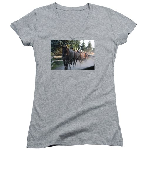 Women's V-Neck T-Shirt featuring the photograph New Morning by Vadim Levin