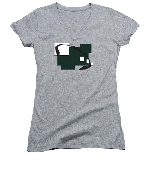 New York Jets Abstract Shirt Women's V-Neck T-Shirt (Junior Cut) by Joe Hamilton