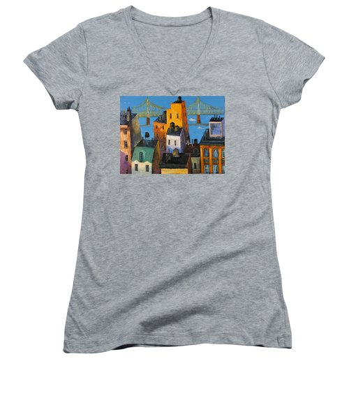 Women's V-Neck T-Shirt (Junior Cut) featuring the painting New York by Mikhail Zarovny