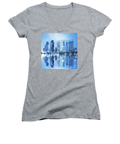 Women's V-Neck T-Shirt (Junior Cut) featuring the photograph Night Scenes Of City by Setsiri Silapasuwanchai