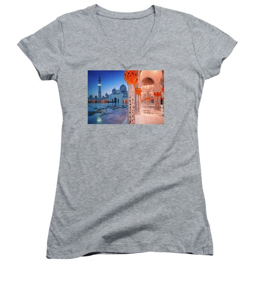 Night View At Sheikh Zayed Grand Mosque, Abu Dhabi, United Arab Emirates Women's V-Neck (Athletic Fit)