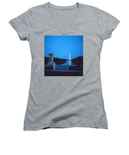 Night View Of The Washington Monument Across The National Mall Women's V-Neck T-Shirt (Junior Cut) by American School