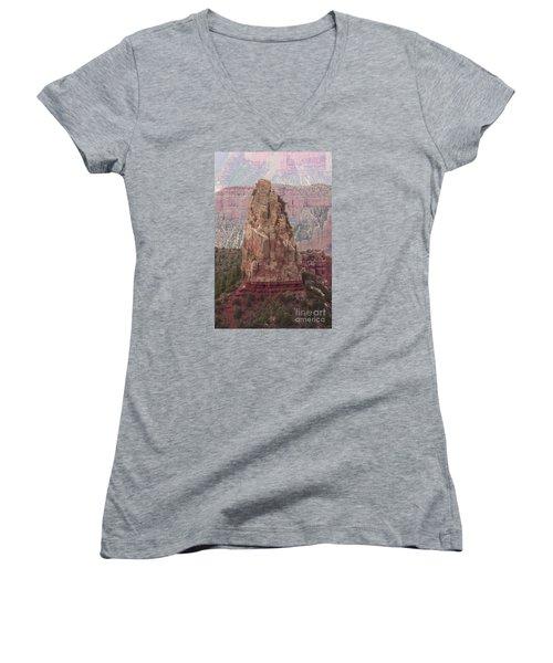 North Rim Rock  Women's V-Neck T-Shirt
