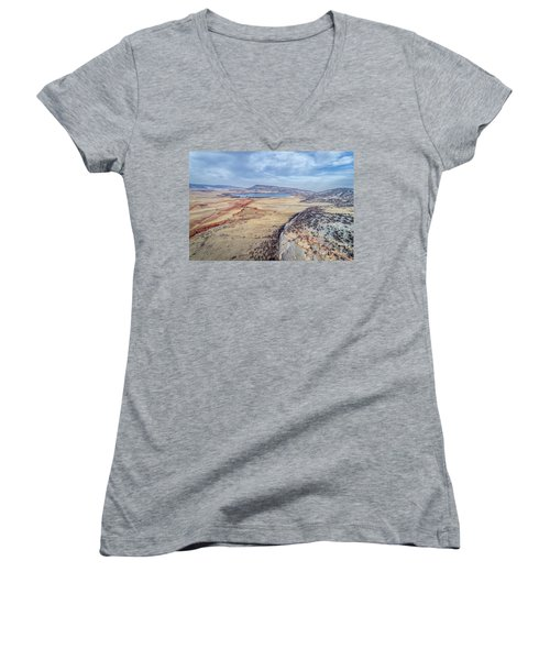 northern Colorado foothills aerial view Women's V-Neck (Athletic Fit)