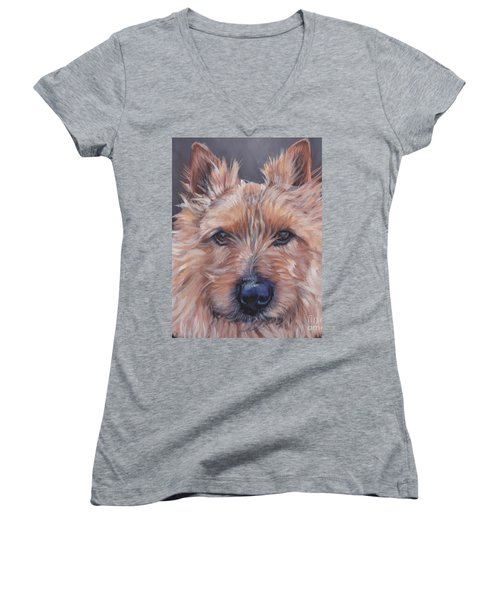 Women's V-Neck T-Shirt (Junior Cut) featuring the painting Norwich Terrier by Lee Ann Shepard