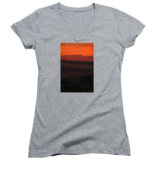 Not Quite Rothko - Blood Red Skies Women's V-Neck T-Shirt (Junior Cut) by Serge Averbukh
