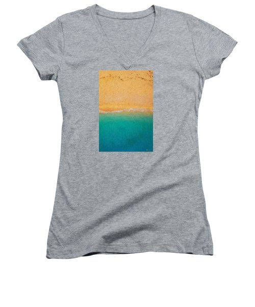 Not Quite Rothko - Surf And Sand Women's V-Neck T-Shirt (Junior Cut) by Serge Averbukh