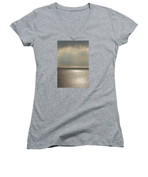 Not Quite Rothko - Twilight Silver Women's V-Neck T-Shirt (Junior Cut) by Serge Averbukh