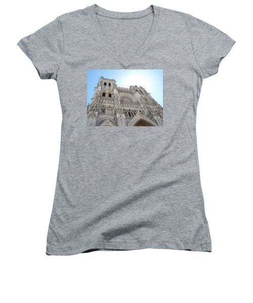 Women's V-Neck T-Shirt (Junior Cut) featuring the photograph Notre-dame D'amiens by Mary Mikawoz