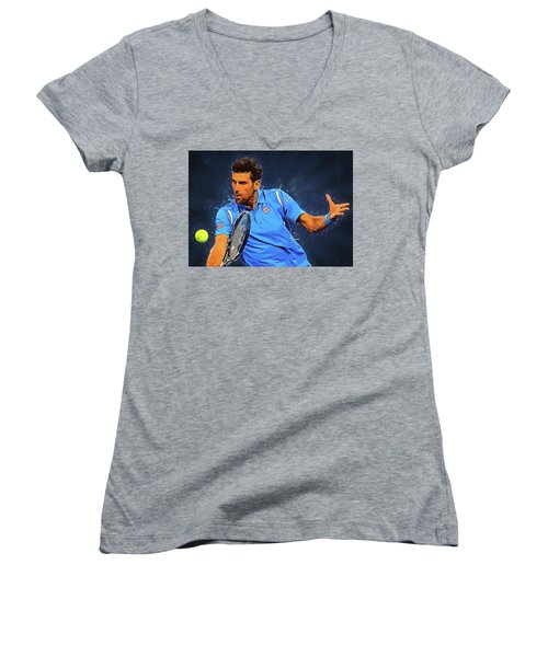 Novak Djokovic Women's V-Neck T-Shirt (Junior Cut) by Semih Yurdabak
