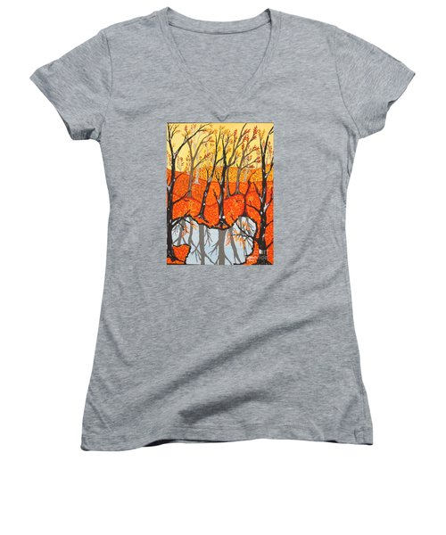 November Morning  Women's V-Neck T-Shirt (Junior Cut) by Jeffrey Koss