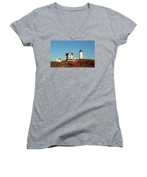 Nubble Light House Women's V-Neck T-Shirt
