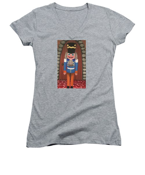 Women's V-Neck T-Shirt (Junior Cut) featuring the painting Nutcracker Sweet by Thomas Blood