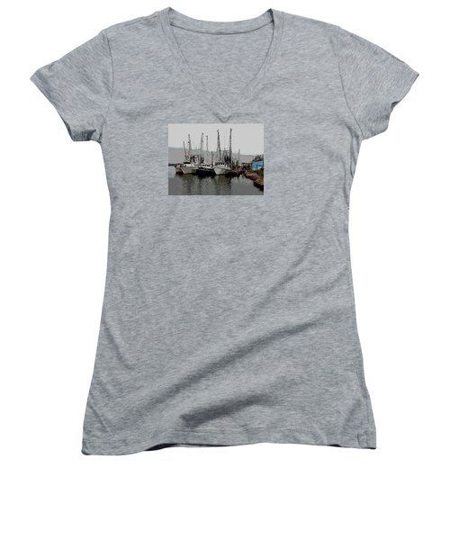 Women's V-Neck T-Shirt (Junior Cut) featuring the photograph Off Season by Laura Ragland