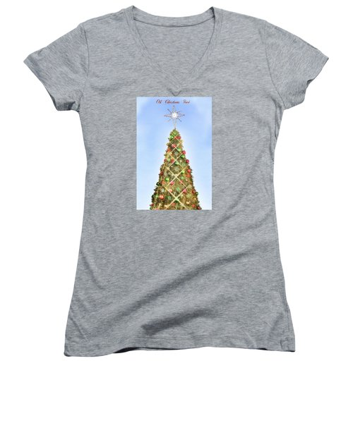 Women's V-Neck T-Shirt (Junior Cut) featuring the photograph Oh Christmas Tree by Joan Bertucci