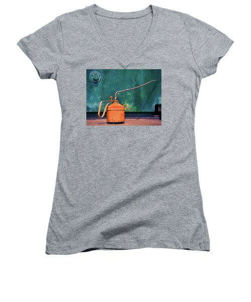 Oil Can On The Engine Women's V-Neck T-Shirt