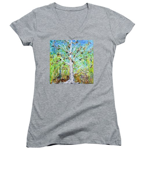 Old Growth Women's V-Neck T-Shirt (Junior Cut) by Regina Valluzzi