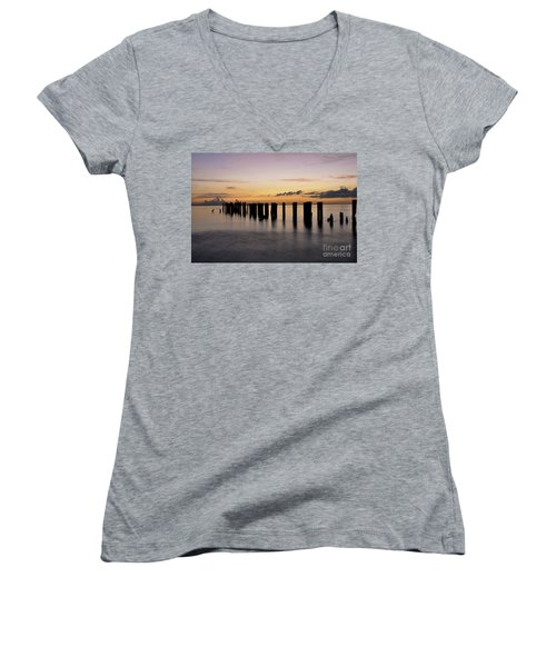 Women's V-Neck T-Shirt (Junior Cut) featuring the photograph Old Naples Pier by Kelly Wade