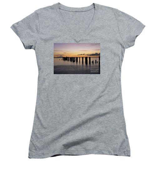 Old Naples Pier Women's V-Neck T-Shirt (Junior Cut) by Kelly Wade