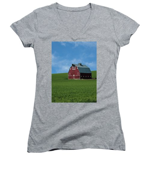 Old Red Barn In The Palouse Women's V-Neck T-Shirt (Junior Cut) by James Hammond