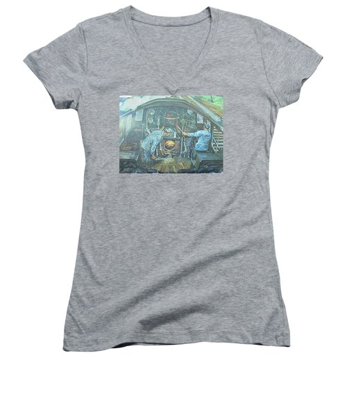 Women's V-Neck T-Shirt (Junior Cut) featuring the painting On The Footplate by Mike Jeffries