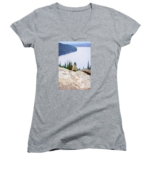 On Top Of The World Women's V-Neck T-Shirt (Junior Cut) by Janie Johnson