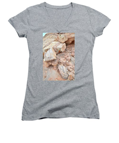 Women's V-Neck T-Shirt (Junior Cut) featuring the photograph Ornate Sandstone In Valley Of Fire by Ray Mathis