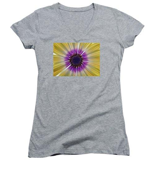 Osteospermum The Cape Daisy Women's V-Neck T-Shirt (Junior Cut) by Shirley Mitchell