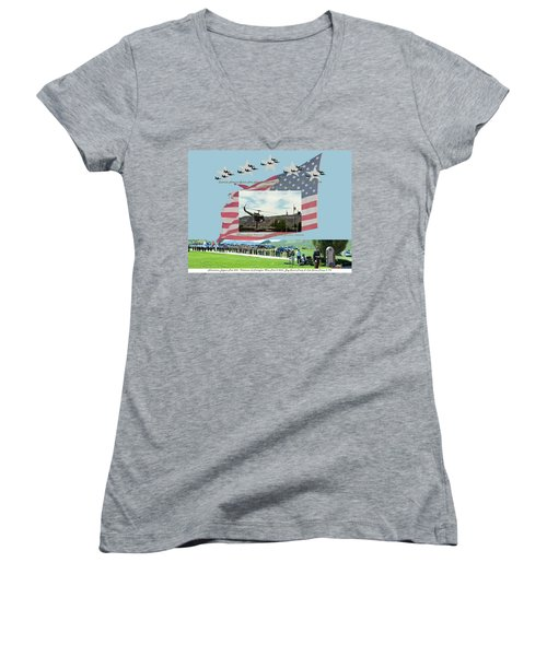 Our Memorial Day Salute Women's V-Neck T-Shirt (Junior Cut) by Daniel Hebard
