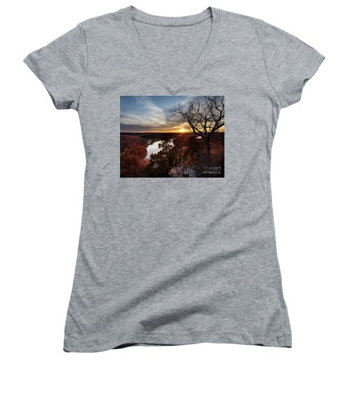 Women's V-Neck T-Shirt (Junior Cut) featuring the photograph Ozark Sunset by Dennis Hedberg