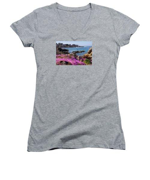Pacific Grove Women's V-Neck T-Shirt (Junior Cut) by Derek Dean