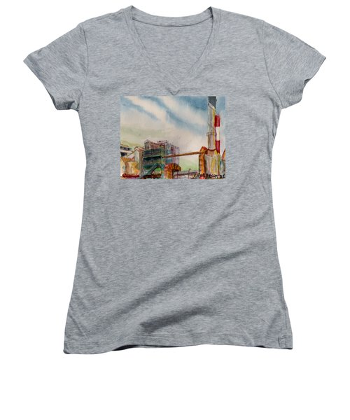 Women's V-Neck T-Shirt (Junior Cut) featuring the painting Paia Mill 2 by Eric Samuelson