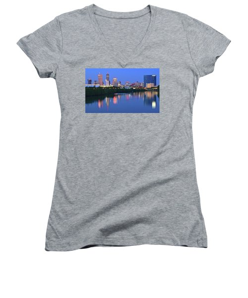 Panoramic Indianapolis Women's V-Neck T-Shirt (Junior Cut) by Frozen in Time Fine Art Photography