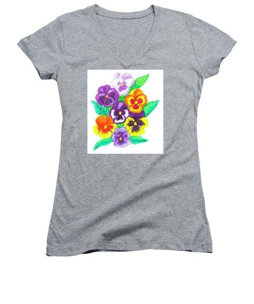 Pansies, Watercolour Painting Women's V-Neck T-Shirt (Junior Cut) by Irina Afonskaya