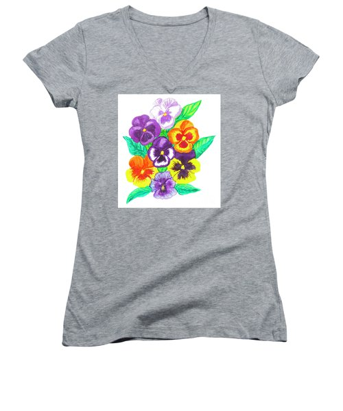 Pansies, Watercolour Painting Women's V-Neck T-Shirt