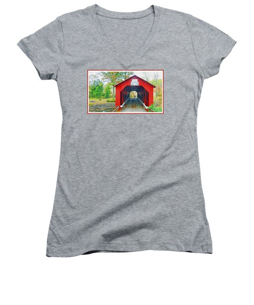 Parr's Mill Covered Bridge, Columbia County, Pennsylvania Women's V-Neck T-Shirt (Junior Cut) by A Gurmankin
