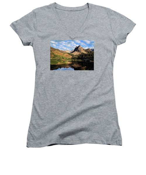 Peaceful Mountain Lake Women's V-Neck