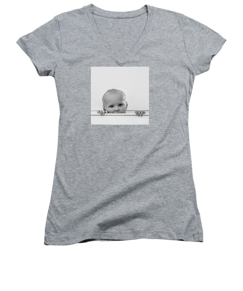Peek A Boo Women's V-Neck T-Shirt (Junior Cut) by Karen Lewis