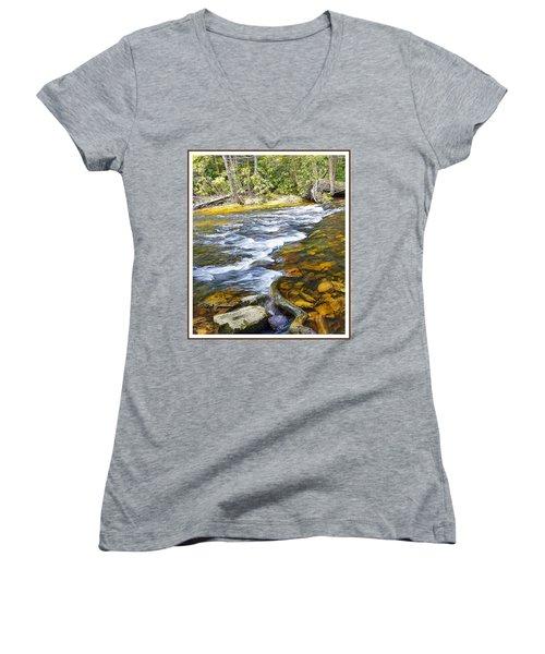 Pennsylvania Mountain Stream Women's V-Neck T-Shirt (Junior Cut) by A Gurmankin