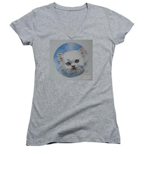 Women's V-Neck T-Shirt (Junior Cut) featuring the painting Persian Kitten by Sandra Phryce-Jones