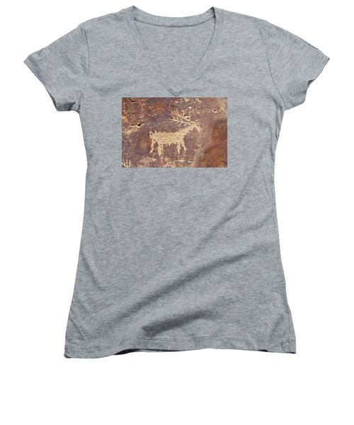 Women's V-Neck T-Shirt (Junior Cut) featuring the photograph Petroglyph - Fremont Indian by Breck Bartholomew