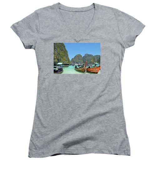 Women's V-Neck T-Shirt (Junior Cut) featuring the digital art Phi Phi Islands 3 by Eva Kaufman