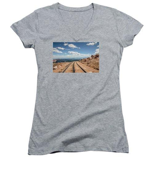 Pikes Peak Cog Railway Track At 14,110 Feet Women's V-Neck T-Shirt