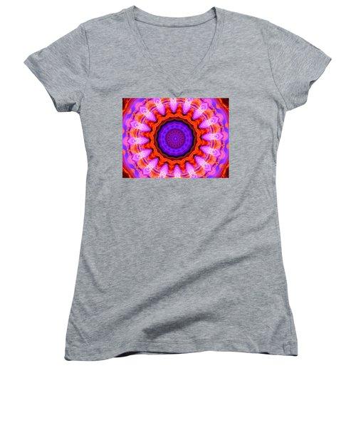 Pink 16-petals Kaleidoscope Women's V-Neck T-Shirt (Junior Cut) by Ernst Dittmar