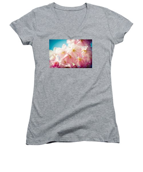 Pink Cherry Blossoms Closeup Women's V-Neck
