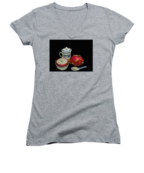 Women's V-Neck T-Shirt (Junior Cut) featuring the photograph Pink Dragon Fruit  by David French