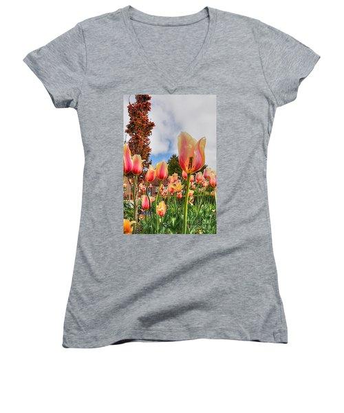 Women's V-Neck T-Shirt (Junior Cut) featuring the photograph Pink Lemon Aid by Robert Pearson