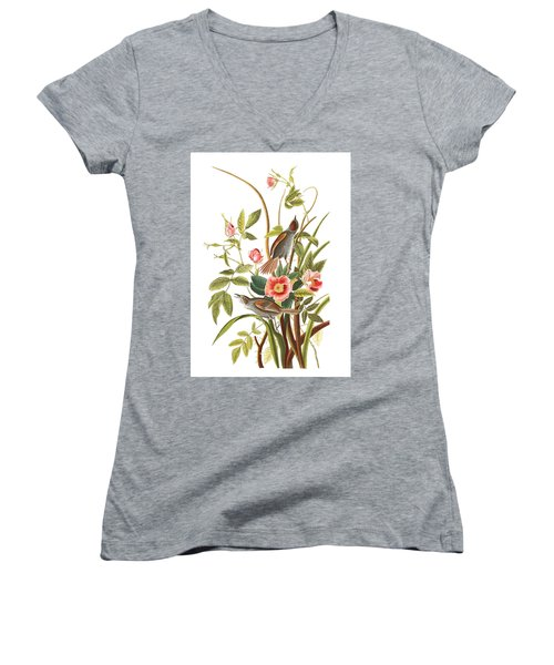 Women's V-Neck T-Shirt (Junior Cut) featuring the photograph Pink Roses by Munir Alawi