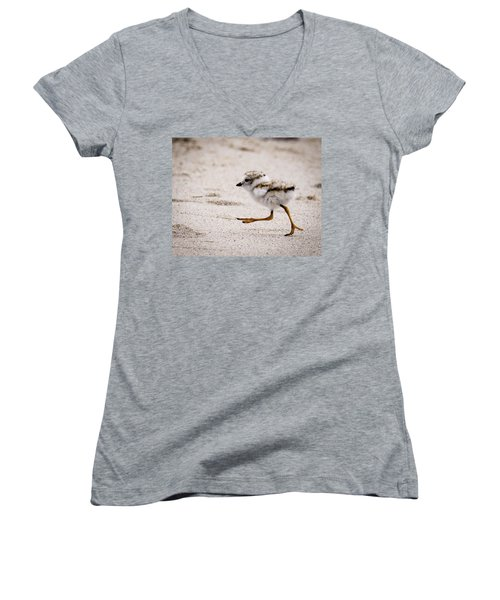 Piping Plover Chick Women's V-Neck (Athletic Fit)